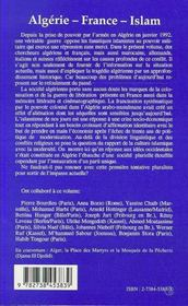 Algerie-France-Islam : Actes Du Colloque - 4ème de couverture - Format classique