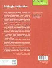 Biologie Cellulaire - 4ème de couverture - Format classique