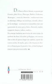 Atlantides, Genealogie D'Un Mythe (Les) - 4ème de couverture - Format classique
