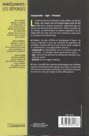 Harcelements ; Les Reponses ; Comment Sortir Du Piege - 4ème de couverture - Format classique