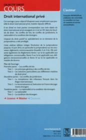 Droit international privé (6e édition) - 4ème de couverture - Format classique