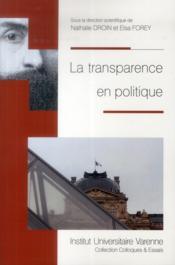 La transparence en politique - Couverture - Format classique