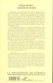 Franz Kafka ; L'Enfer Du Sujet - 4ème de couverture - Format classique