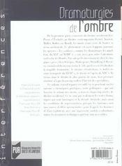 Dramaturgies De L Ombre - 4ème de couverture - Format classique