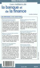 Les Metiers De La Banque Et De La Finance - 4ème de couverture - Format classique
