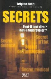 Secrets ; Faut-Il Tout Dire ? Faut-Il Tout Reveler ? - Intérieur - Format classique