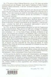 Un Juif rebelle dans la révolution ; la vie de Zalkind Hourwitz (1751-1812) - 4ème de couverture - Format classique