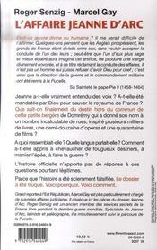 L'affaire Jeanne d'Arc - 4ème de couverture - Format classique