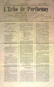 Echo De Parthenay (L') N°34 du 25/08/1872 - Couverture - Format classique