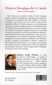 Histoire liturgique du XXe siècle ; enjeux et documents - 4ème de couverture - Format classique