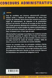 Methodologie De La Dissertation Categories A Et B Concours Externes Et Internes Fonction Publique - 4ème de couverture - Format classique