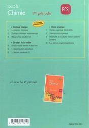 Toute La Chimie Pcsi 1re Periode Cours Exercices Corriges Nouveau Programme - 4ème de couverture - Format classique