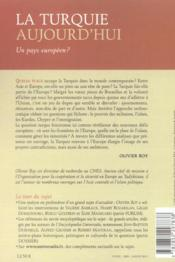 La turquie aujourd'hui ; un pays europeen ? - 4ème de couverture - Format classique