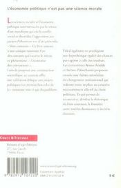 Economie Politique N'Est Pas Une Science Morale (L') - 4ème de couverture - Format classique