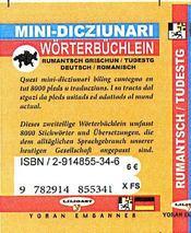 Romanche-allemand (mini dico) - 4ème de couverture - Format classique