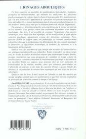 Lignages Abouliques ; Processus Toxiques Et Traumatiques Dans Les Structures Intersubjectives - 4ème de couverture - Format classique