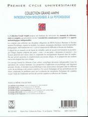 Psychologie: Introduction Biologique - 4ème de couverture - Format classique