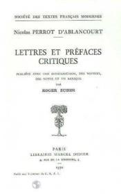 Lettres Et Prefaces Critiques - Couverture - Format classique
