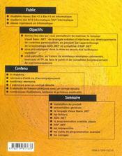 Visual Basic.Net Cours Et Exercices - 4ème de couverture - Format classique