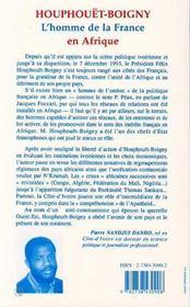 Houphouet Boigny, L'Homme De La France En Afrique - 4ème de couverture - Format classique