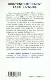 Gouverner Autrement ; La Cote D'Ivoire - 4ème de couverture - Format classique