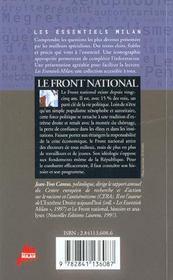 Le Front national - 4ème de couverture - Format classique