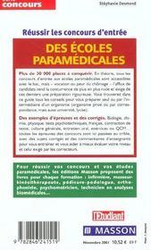 Réussir le concours d'entrée des écoles paramédicales - 4ème de couverture - Format classique