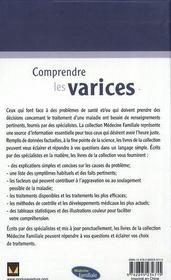 Comprendre les varices - 4ème de couverture - Format classique