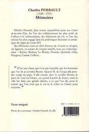 Charles Perrault ; mémoires - 4ème de couverture - Format classique