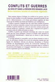 Cahiers Africains N.39-40 ; Conflits Et Guerres Au Kivu Et Dans La Region Des Grands Lacs - 4ème de couverture - Format classique
