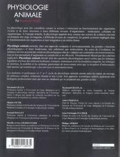 Physiologie animale - 4ème de couverture - Format classique