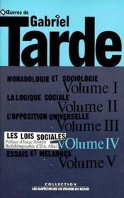 Oeuvres t.4 ; les lois sociales - Couverture - Format classique