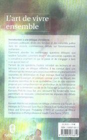 Art De Vivre Ensemble. Introduction A Une Ethique Chretienne - 4ème de couverture - Format classique