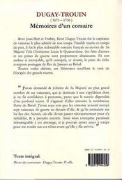 Mémoires d'un corsaire (1689-1736) - 4ème de couverture - Format classique