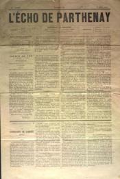 Echo De Parthenay (L') N°32 du 06/08/1876 - Couverture - Format classique