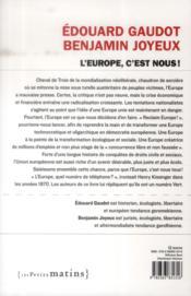 L'Europe, c'est nous ! - 4ème de couverture - Format classique
