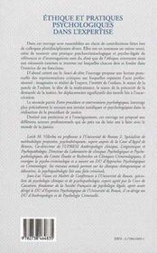 Ethique Et Pratiques Psychologiques Dans L'Expertise - 4ème de couverture - Format classique