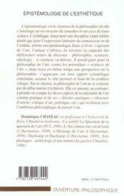 Epistemologie De L'Esthetique - 4ème de couverture - Format classique
