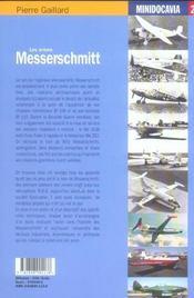 Les Avions Messerschmit - 4ème de couverture - Format classique