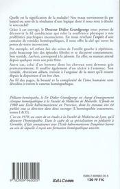 L'Esprit Du Remede Homeopathique - Ce Que Le Mal A Dit - 4ème de couverture - Format classique