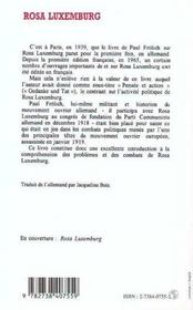 Rosa Luxemburg - 4ème de couverture - Format classique