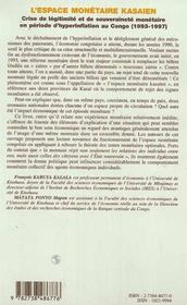 Crise De Legitimite Et De Souverainete Monetaire En Periode D'Hyperinflation Au Congo 1993-1997 - 4ème de couverture - Format classique