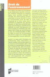 Droit De L Environnement - 4ème de couverture - Format classique