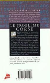 Le Probleme Corse - 4ème de couverture - Format classique