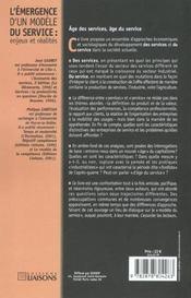 L'Emergence D'Un Modele Du Service ; Enjeux Et Realites - 4ème de couverture - Format classique