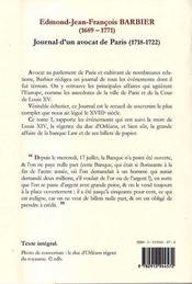 Journal d'un avocat de Paris t.1 ; (1718-1722) ; la grande friponnerie de monsieur Law - 4ème de couverture - Format classique