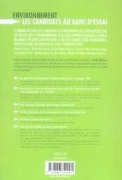 Environnement ; les candidats aux banc d'essai - 4ème de couverture - Format classique