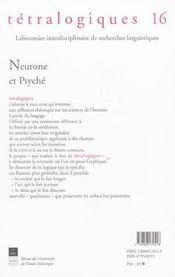 Neurone Et Psyche - 4ème de couverture - Format classique
