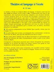 Theatre Et Langage A L'Ecole 8-11 Ans - 4ème de couverture - Format classique