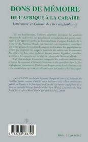 Dons De Memoire ; De L'Afrique A La Caraibe ; Litterature Et Culture Des Iles Anglophones - 4ème de couverture - Format classique